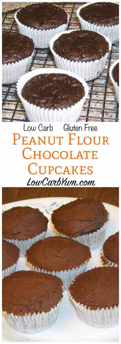 Light and moist low carb gluten free peanut flour chocolate cupcakes with just a hint of peanut. Eat plain or topped with sugar free chocolate frosting. LCHF Keto THM Dessert Recipe