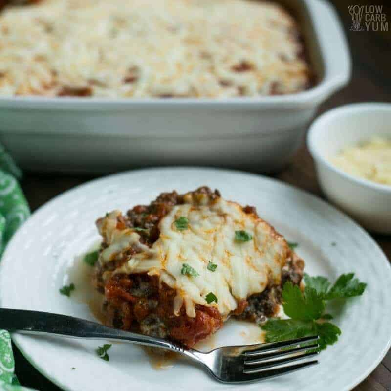 Spaghetti Squash Lasagna Casserole With Ground Beef Low Carb Yum