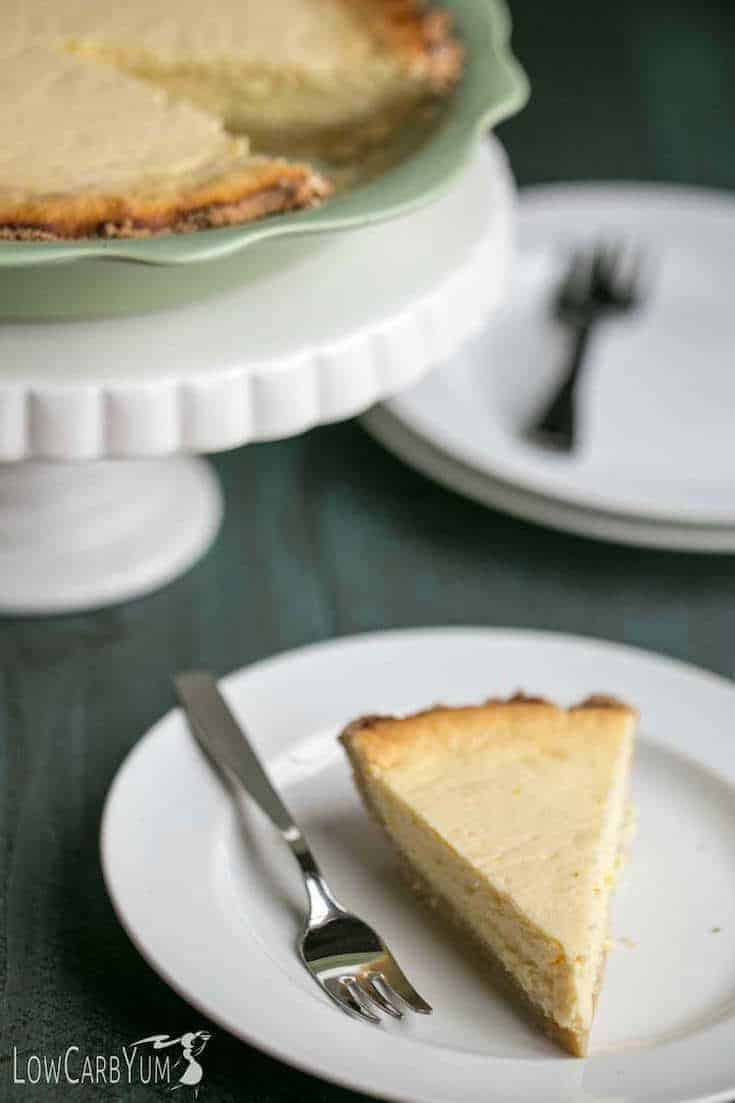 closeup of ricotta cheese pie