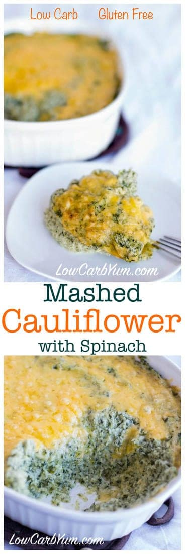 Low carb keto mashed cauliflower with spinach. Flavored with sour cream and cheese. LCHF Atkins THM Banting