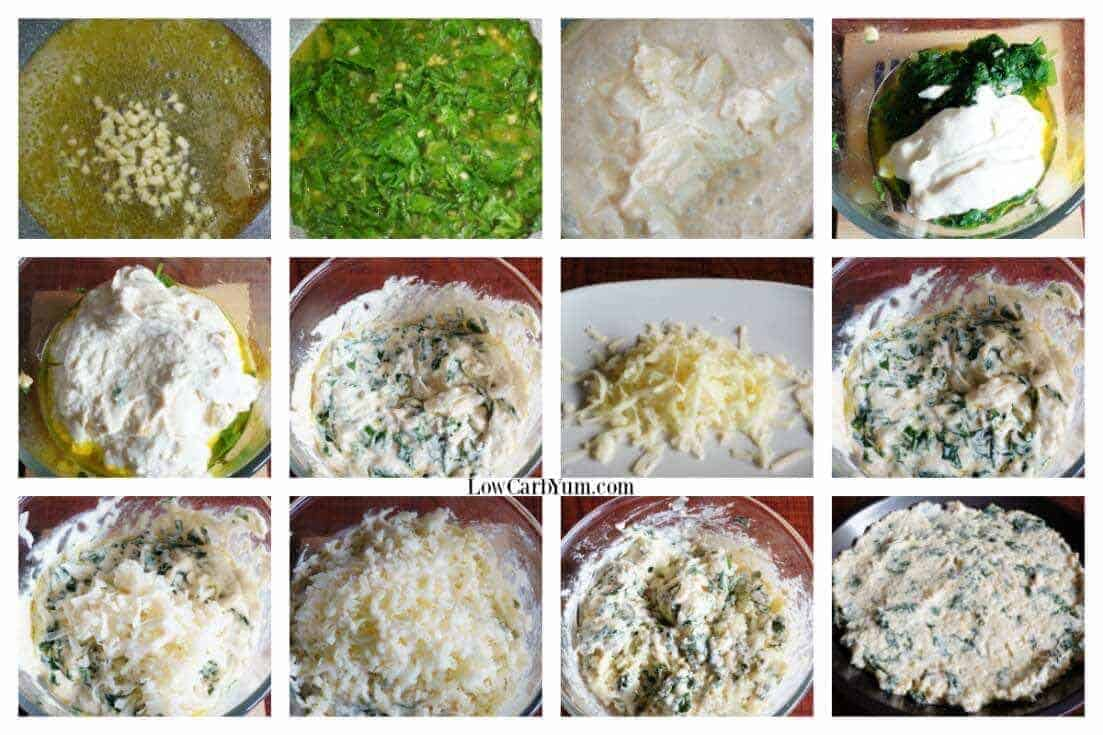 Hot low carb spinach dip with cheese collage