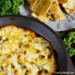 Hot low carb spinach dip with cheese featured