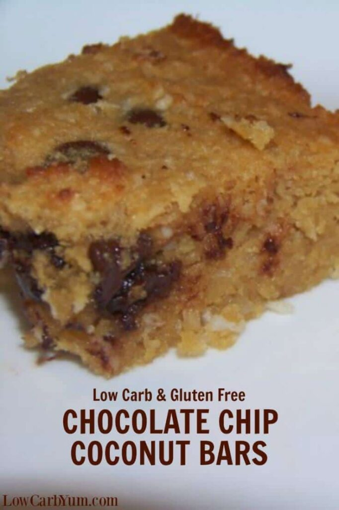 These chocolate chip coconut bars are similar to chocolate chip bars, but with a coconut based batter. Delicious to eat fresh out of the oven.