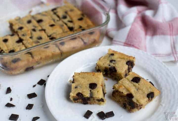 Chocolate chip coconut bars on plate