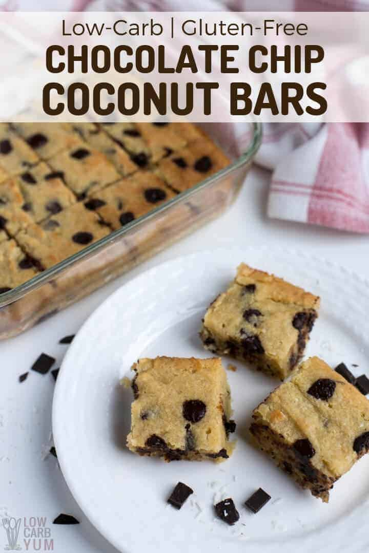 Low-carb gluten-free chocolate chip coconut bars recipe