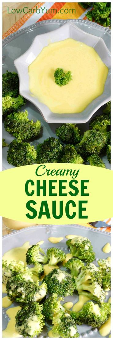 A quick and easy creamy low carb cheese sauce that only uses three ingredients. It tastes delicious and it's a great way to dress up some steamed broccoli. | LowCarbYum.com