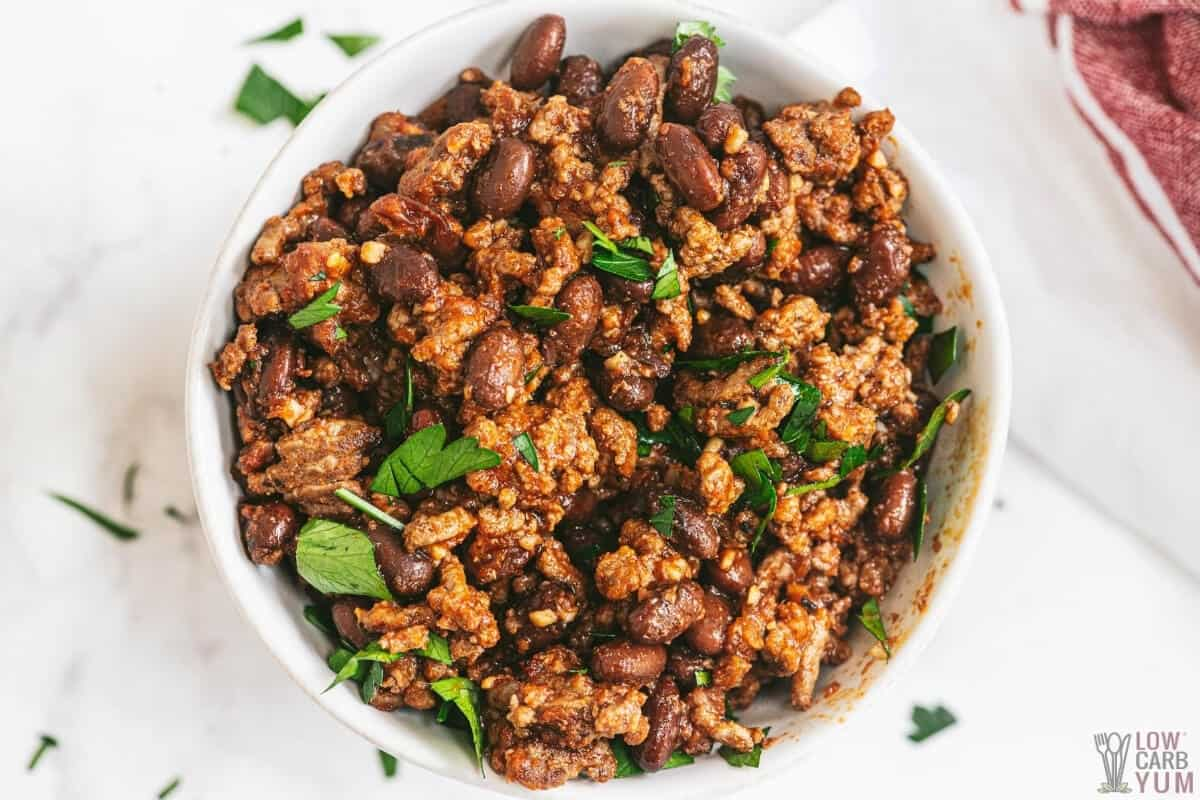 bowl with baked beans keto recipe