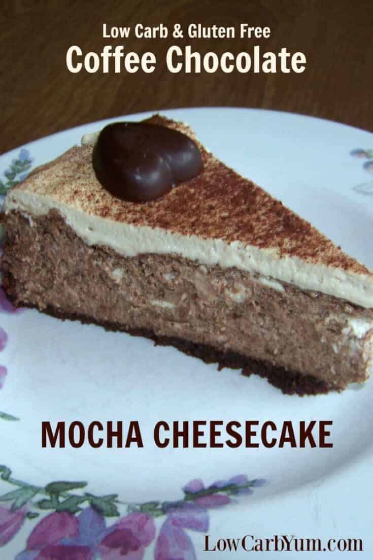 A decadent coffee chocolate mocha cheesecake recipe to wow your low carb friends. It uses homemade gluten free chocolate biscotti that have been ground up for the crust