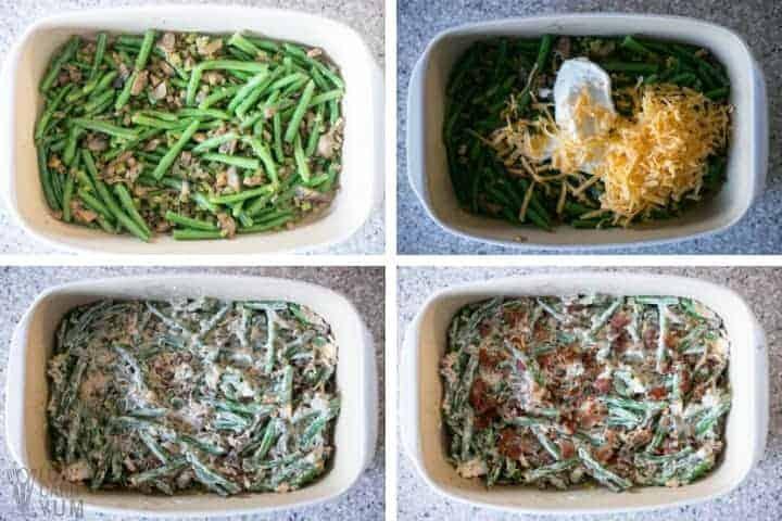 preparing gf green bean casserole