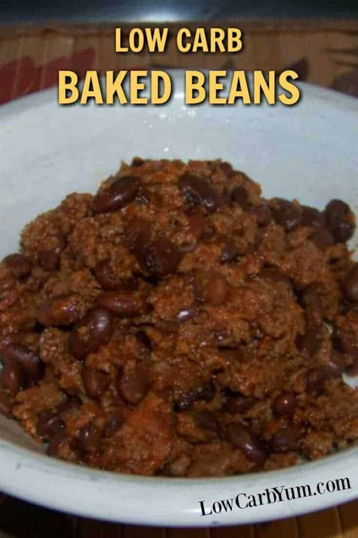 A baked soy beans with beef that looks like chili. But, it has more of a sweet and smoky flavor of low carb baked beans with the addition of ground beef.