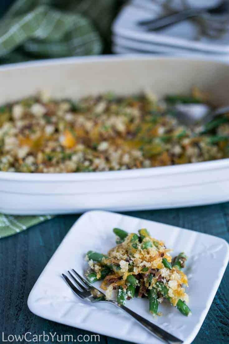 gluten-free green bean casserole on plate and baking dish