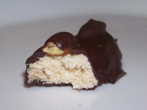 A chocolate coated sweet coconut candy bar that I call my low carb Almond Joy candy bar. It truly will have you jumping for joy when you take a bite.