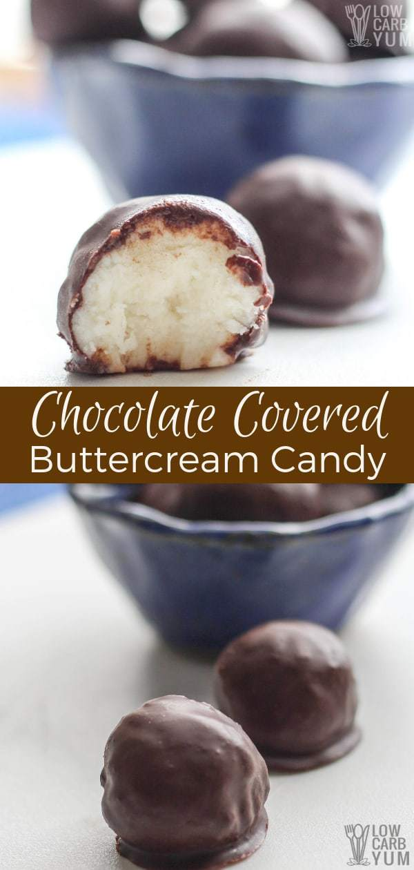 A low carb and sugar free chocolate covered buttercream candy recipe that's easy to make. Simply make the buttercream filling, chill, then dip into chocolate. #lowcarb #keto #ketorecipes #lowcarbrecipes #ketocandy #lowcarbcandy #ketodesserts #lowcarbdesserts #weightwatchers #Atkins #sugarfree | LowCarbYum.com