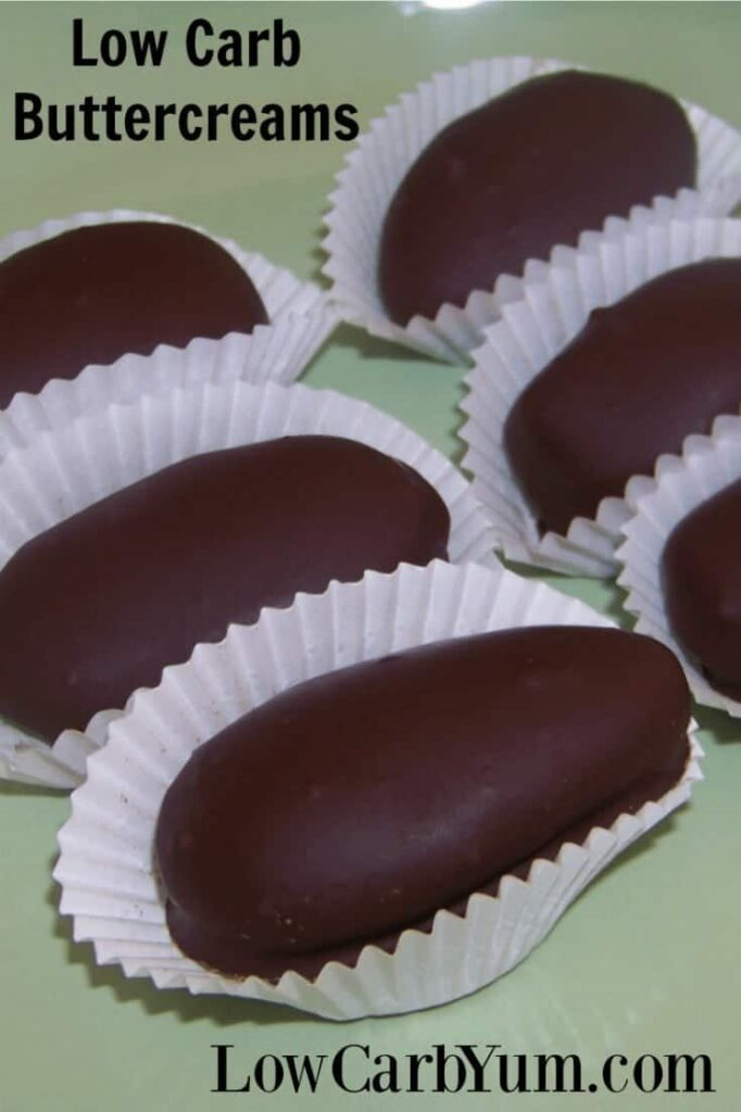 This low carb and sugar free chocolate covered candy recipe is simple to make. Simply make the buttercream filling, chill, then dip into chocolate.