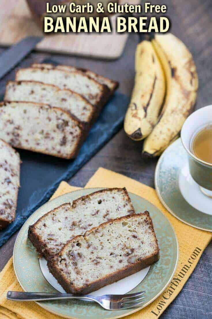 A delicious low carb banana bread that uses real fruit in a moderate amount to keep carbs low. Each slice only has about 5 grams of net carbs. | LowCarbYum.com
