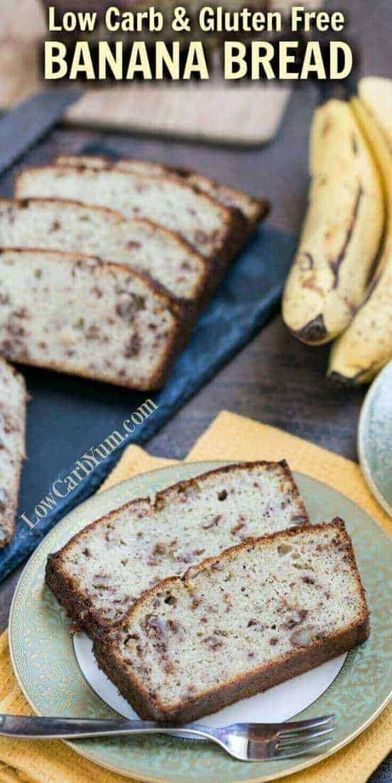 A delicious low carb banana bread that uses real fruit in a moderate amount to keep carbs low. Each slice only has about 4 grams of net carbs. #atkins #atkinsrecipe #lowcarbrecipe #lowcarb | LowCarbYum.com