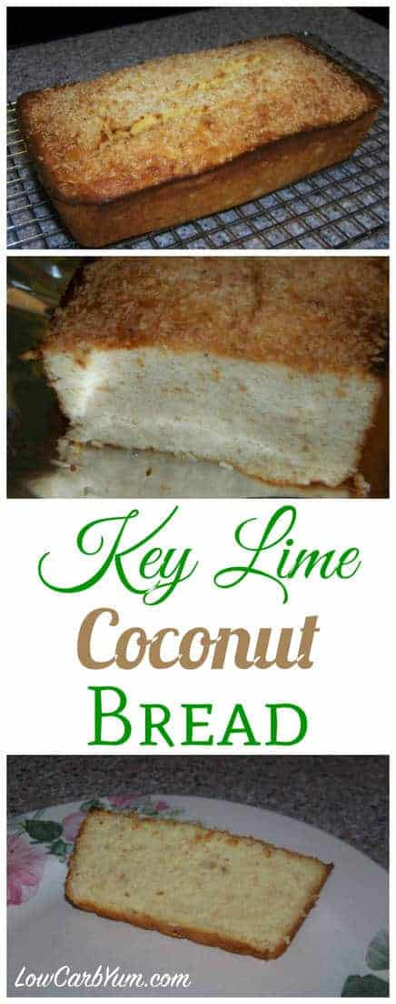 The tropical tastes of key lime and coconut go so well together. This low carb and gluten free sweet bread is flavorful and moist. Once you give it a try, you'll be hooked.
