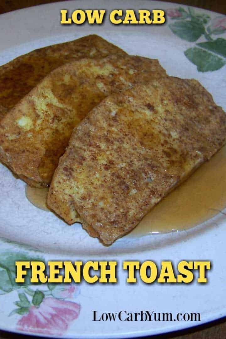 A delicious gluten free low carb french toast with cinnamon. Make ahead and freeze in single servings for easy low carb breakfasts later.