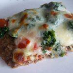 Spinach Tomato Meatza Pizza