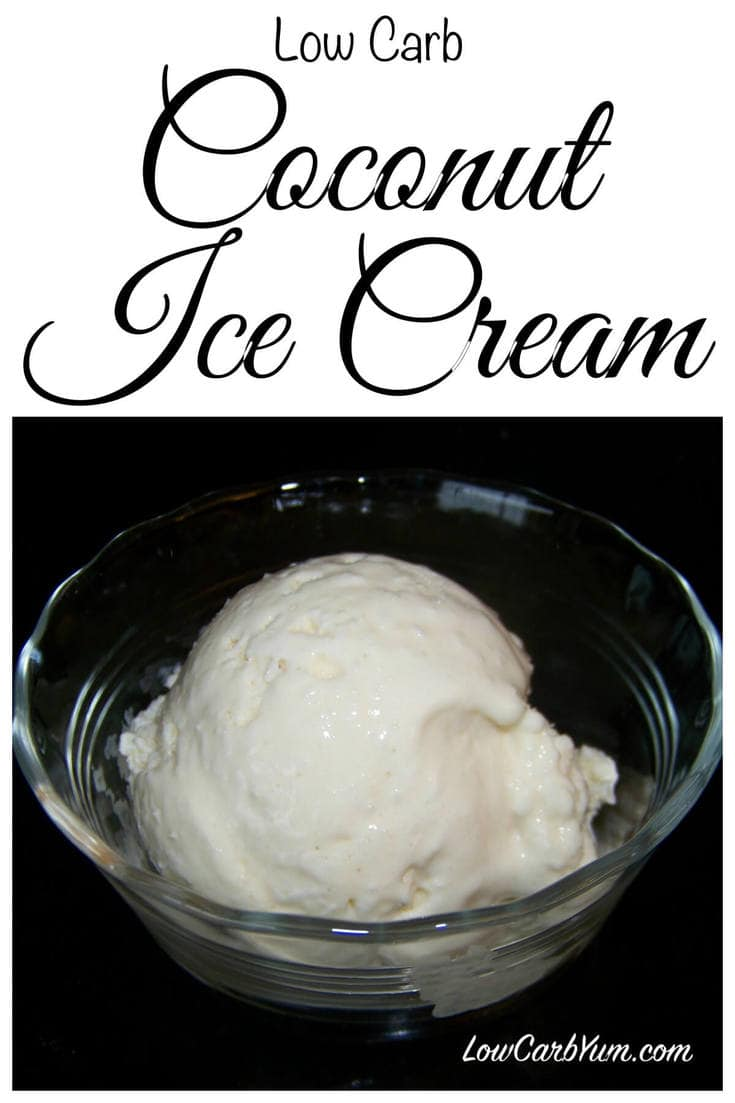 Making low carb ice cream at home is easy with the help of an ice cream maker. This is a basic coconut ice cream with unsweetened coconut mixed in.