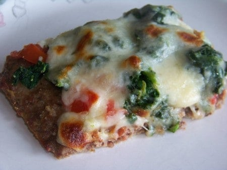 Low carb spinach tomato meatza pizza