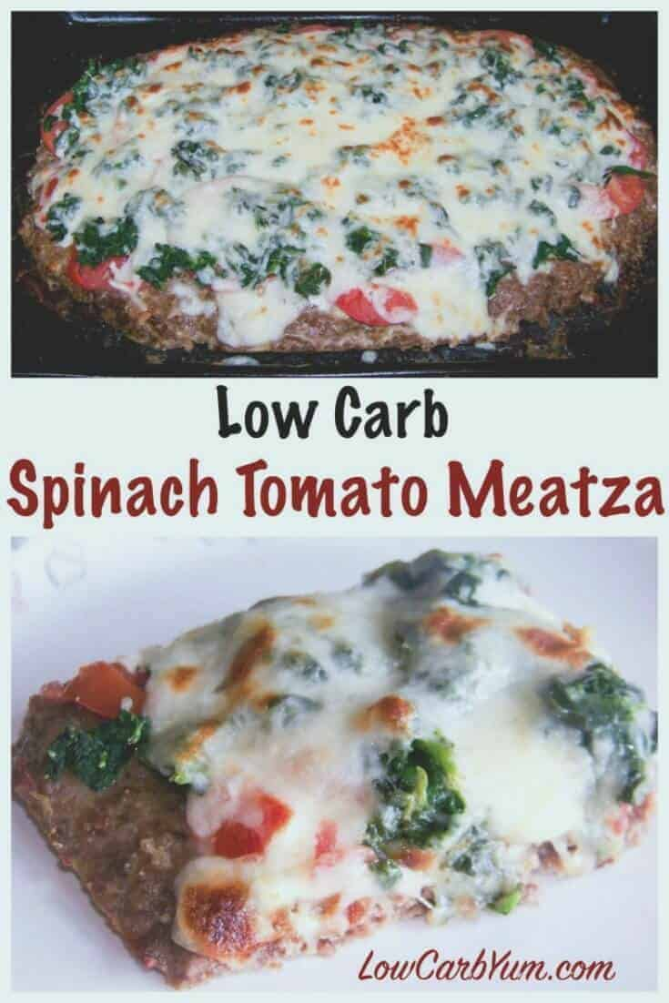 A paleo friendly low carb meatza pizza is basically just a seasoned ground beef mix cooked flat to make a crust. Then, it's topped off with veggies.