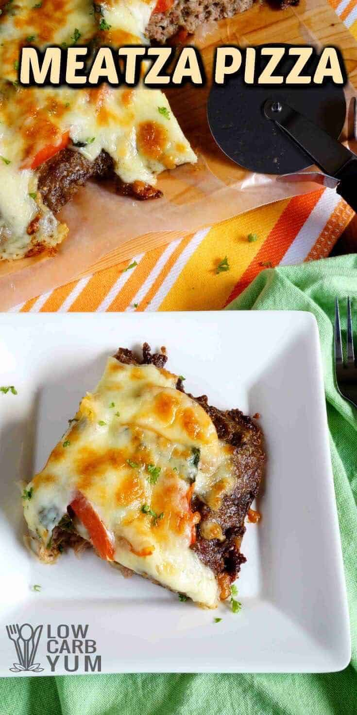 A paleo friendly low carb meatza pizza is basically just a seasoned ground beef mix cooked flat to make a crust. Then, it's topped off with veggies. | LowCarbYum.com