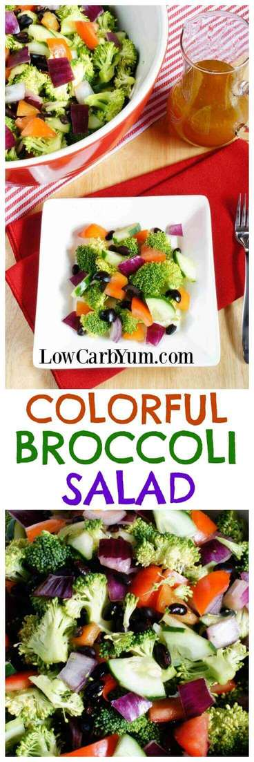 A colorful low carb cucumber broccoli salad made with a variety of different colored vegetables. It's a pretty dish to take along to any potluck. | LowCarbYum.com