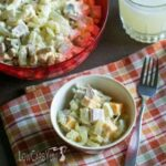 Low carb ham and cheese macaroni salad with shiratake noodles