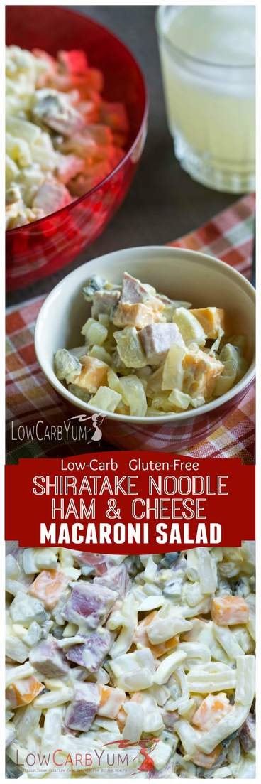 Low carb shiratake noodles make this ham and cheese macaroni salad less than 1 gram carb per serving. Perfect recipe for picnics! | LowCarbYum.com