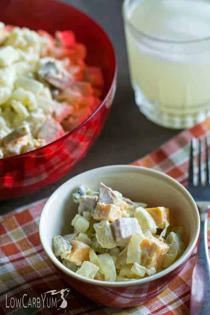 Low carb shiratake noodles make this ham and cheese macaroni salad less than 1 gram carb per serving. Perfect recipe for picnics! | LowCarbYum.com