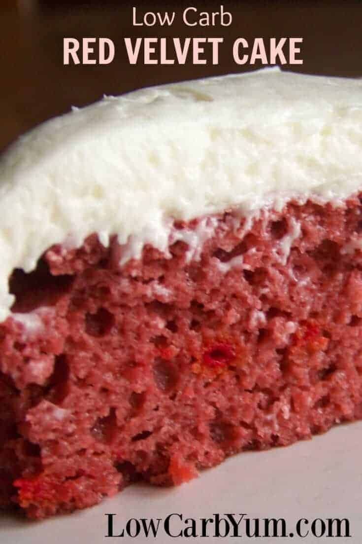 Delicious, moist low carb sugar free red velvet cake that is a must try. Get the great taste of red velvet cake without all the carbs. Gluten free option! #lowcarb #glutenfree | LowCarbYum.com
