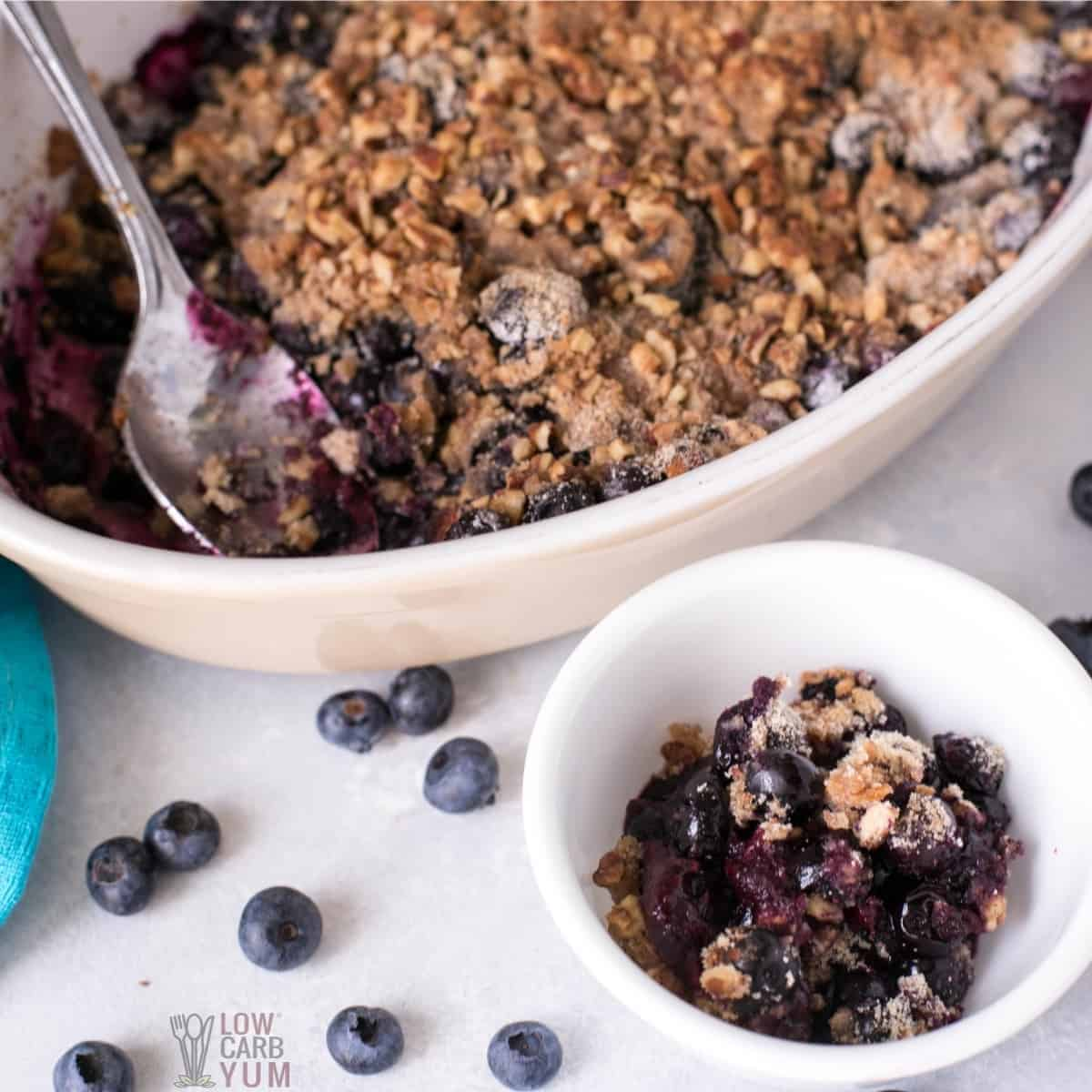 easy gluten free blueberry crisp recipe featured image