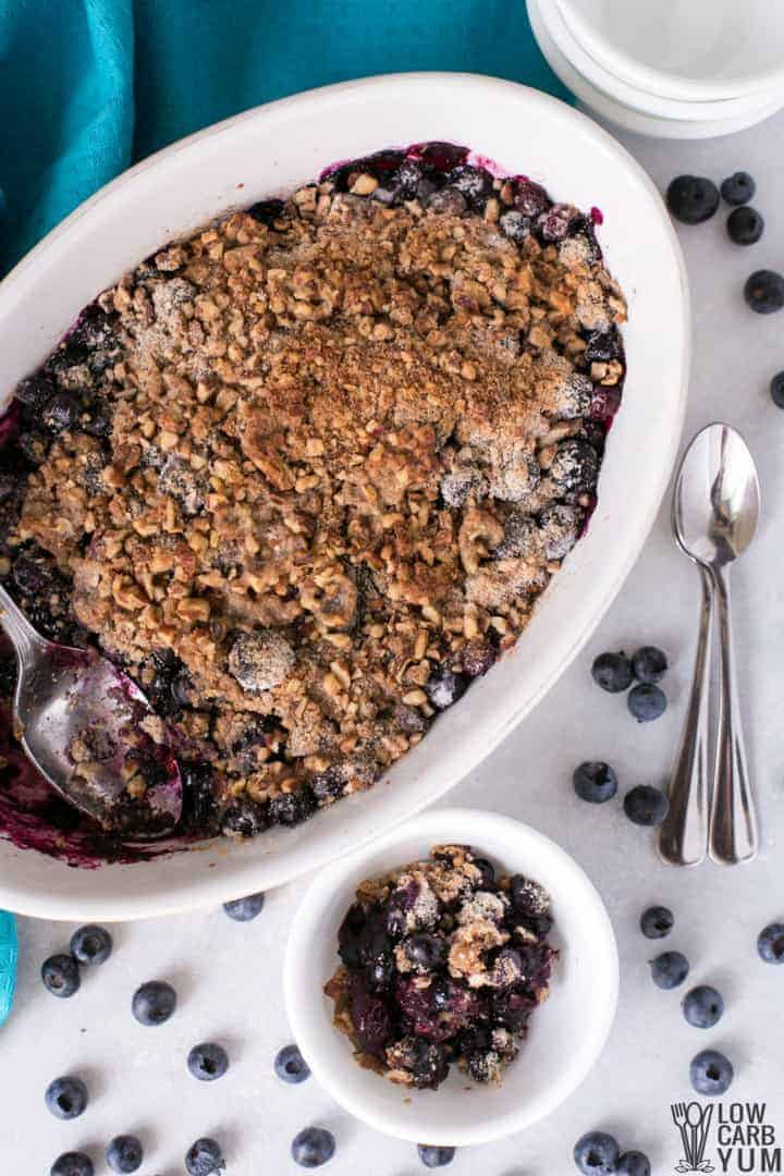 Healthy gluten free blueberry crisp with pecans