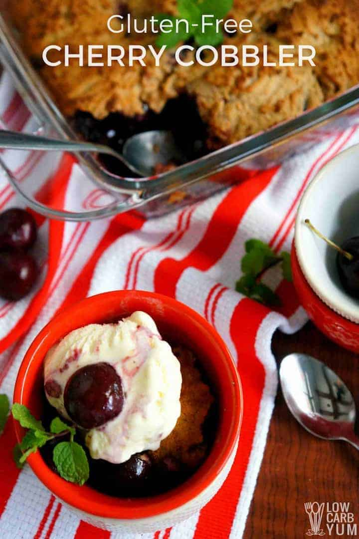 Gluten free cherry cobbler recipe topped with ice cream