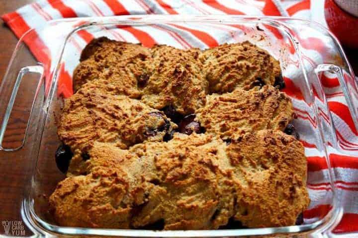 Baked gluten free cherry cobbler