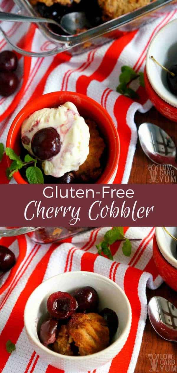 A delicious low carb gluten free cherry cobbler made fresh cherries and no added sugar. Enjoy it with some sugar-free ice cream or just eat it plain! #lowcarb #glutenfree #sugarfree #cherrycobbler #cherrydessert #fruitcobbler #cobbler | LowCarbYum.com