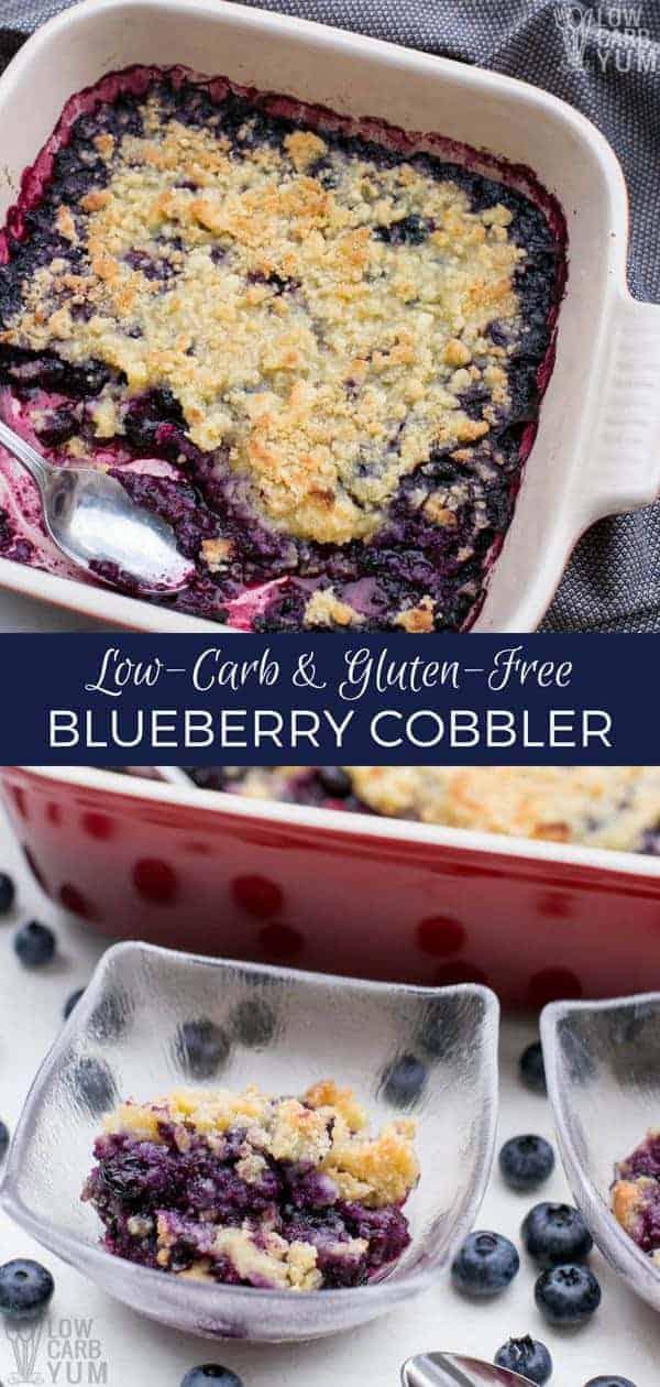 Low carb gluten free blueberry cobbler dessert recipe