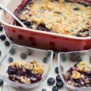 Low carb gluten free blueberry cobbler dessert