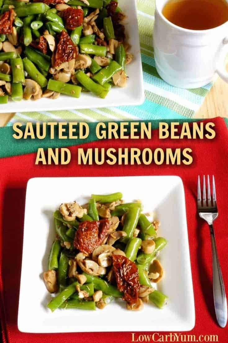 The white wine gives a nice flavor to these sauteed green beans and mushrooms. Sun-dried tomatoes are optional, but provide a nice contrasting color.