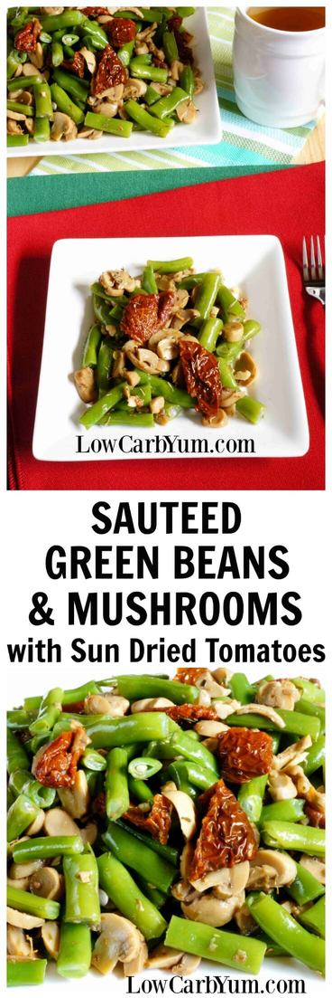 The white wine gives a nice flavor to these sauteed green beans and mushrooms. Sun-dried tomatoes are optional, but provide a nice contrasting color. | LowCarbYum.com