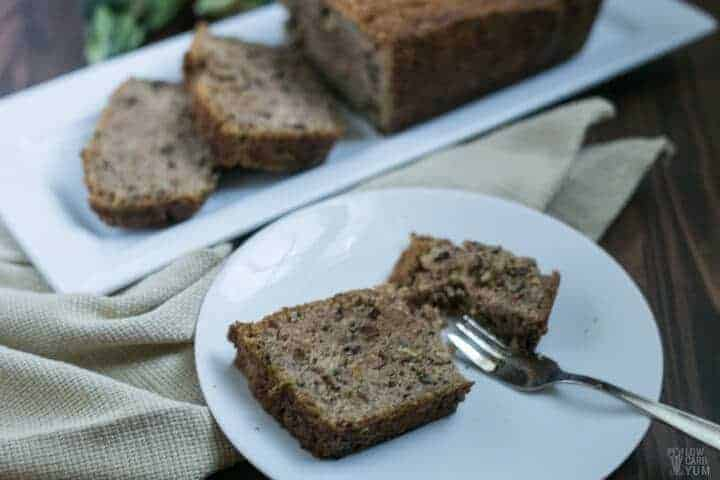 Low carb zucchini bread slice