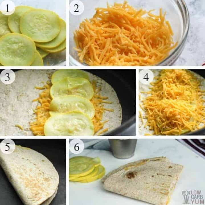 How to make low carb yellow squash cheese quesadilla