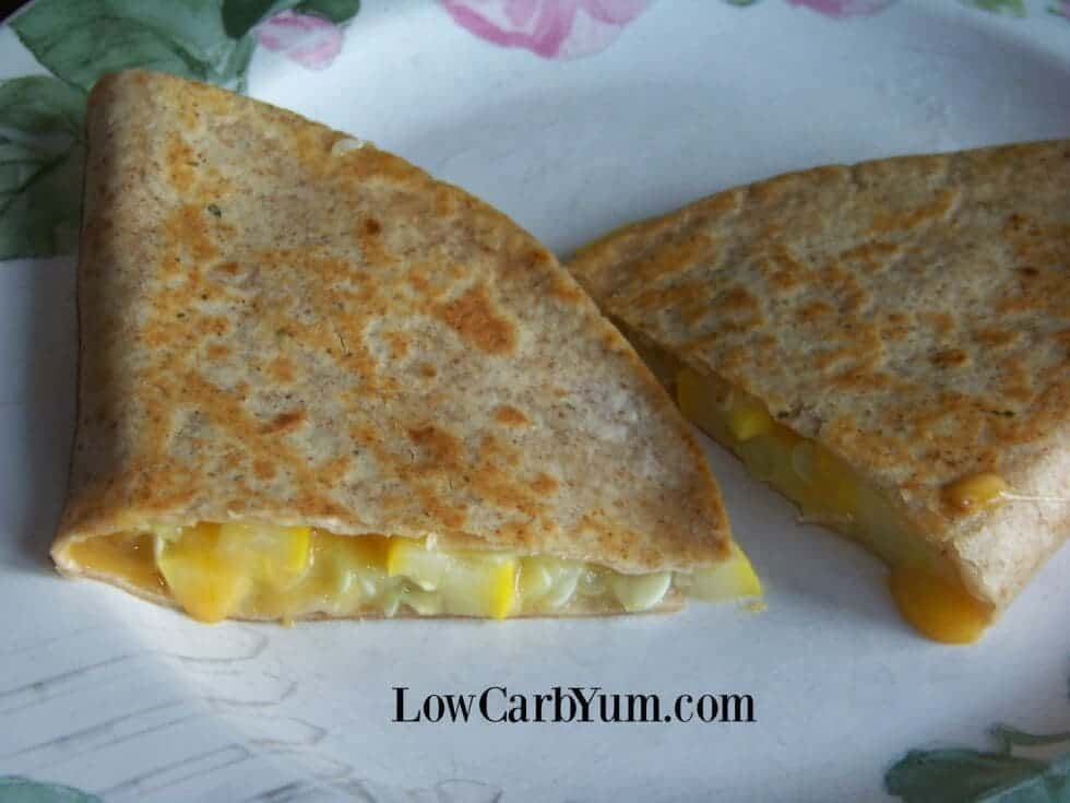 Yellow summer squash low carb quesadillas