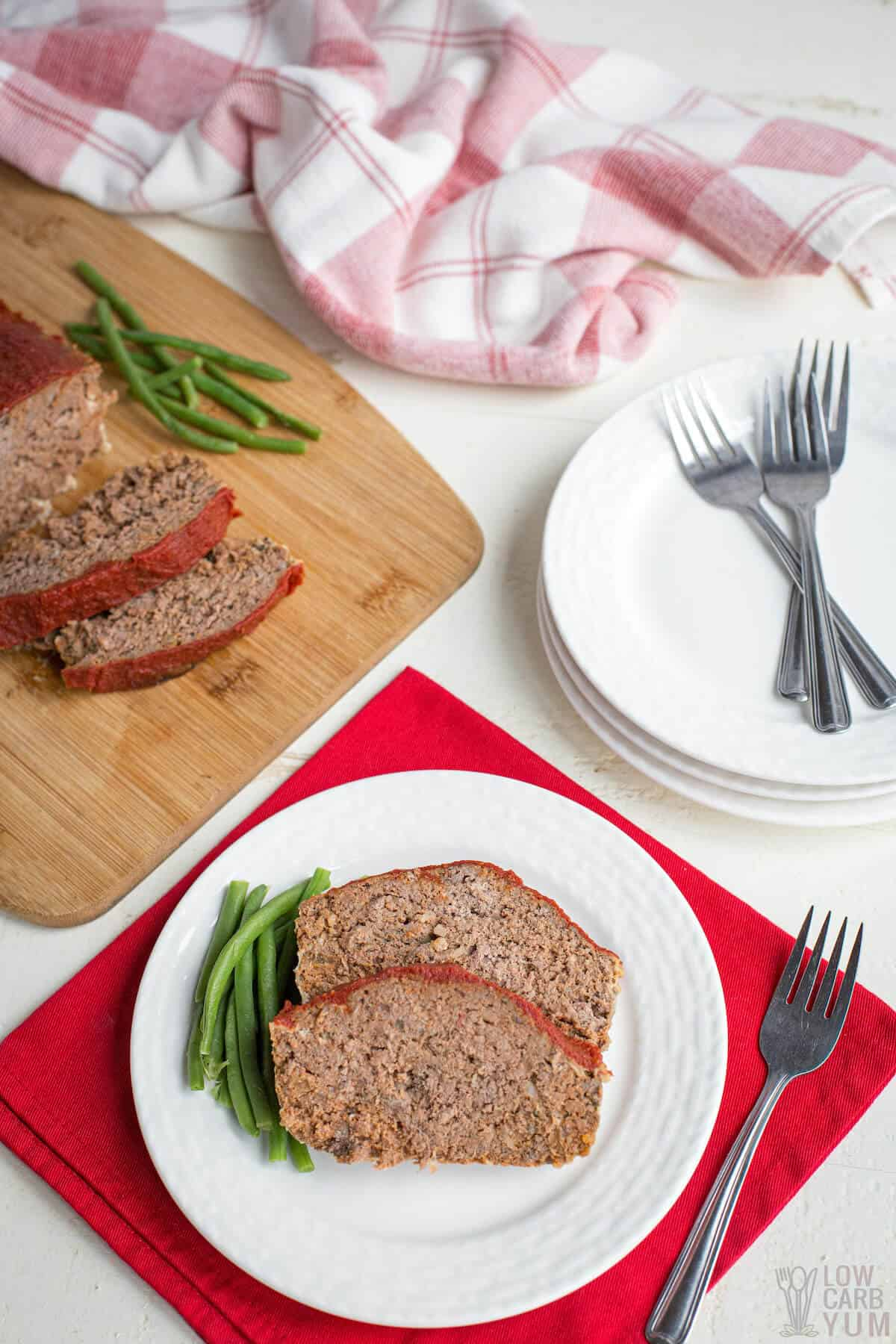 serving low-carb keto meatloaf recipe