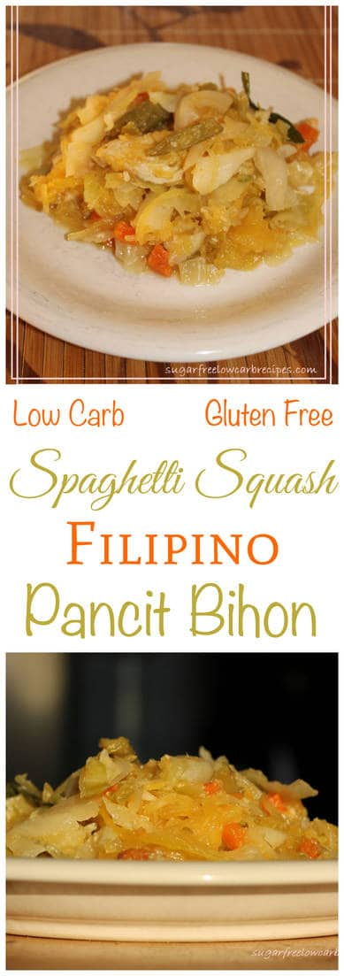 Filipino pancit is a stir-fry of meat and vegetables with noodles mixed in. This low carb chicken version replaces the rice noodles with spaghetti squash.