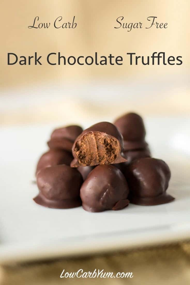 Delicious low carb sugar free chocolate truffle candy recipe with a creamy ganache center. These truffles are a wonderful treat to share with someone special. #keto #lowcarb #chocolate | LowCarbYum.com