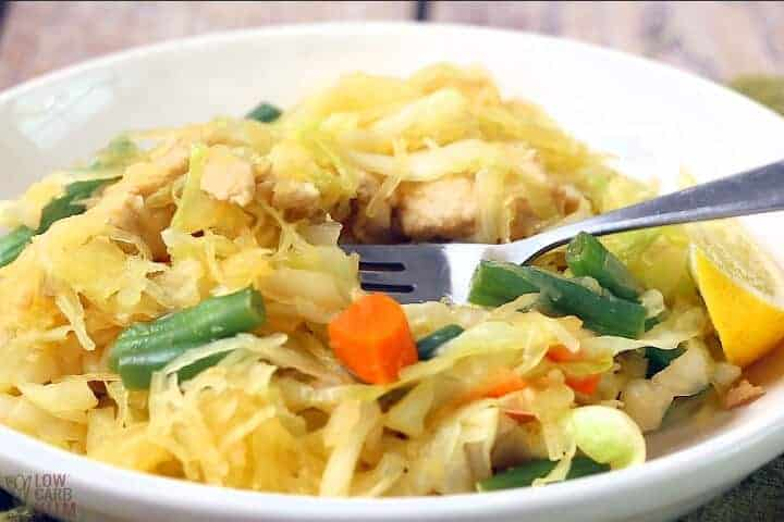 pancit with fork and plate
