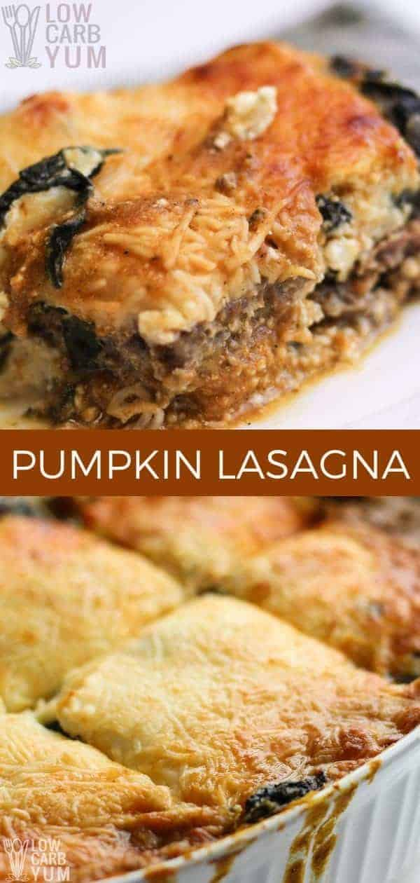 A low carb pumpkin lasagna with spinach and meatza noodles. The pasta noodles in this dish have been replaced with pre-baked seasoned ground beef.