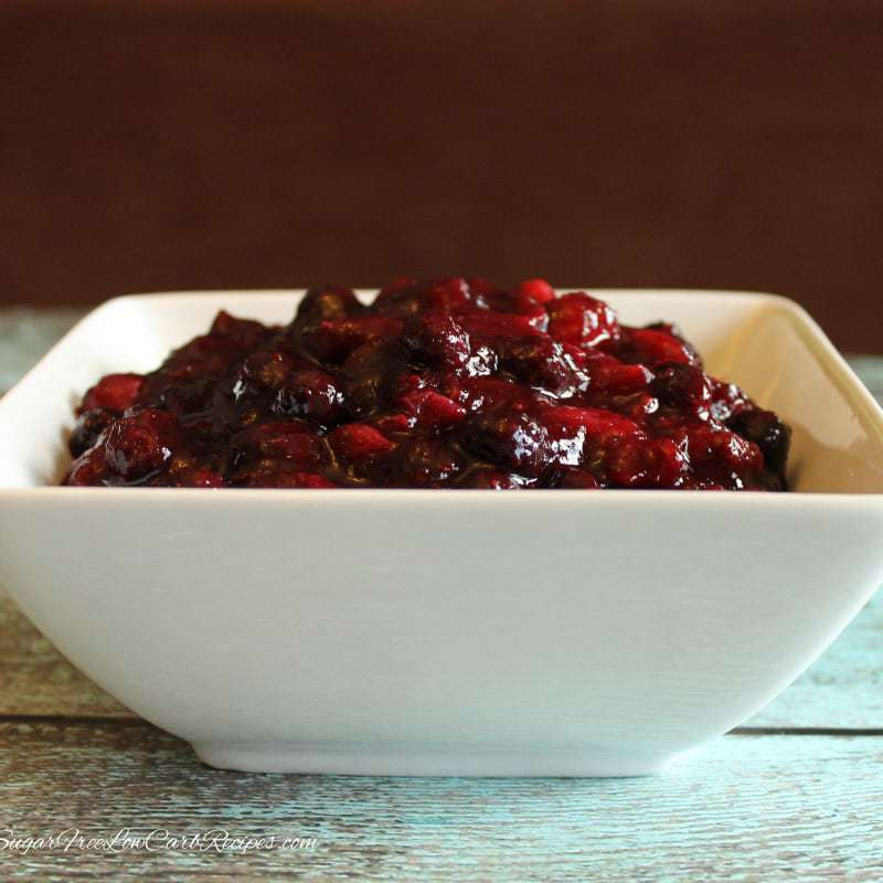 Sugar Free Cranberry Sauce with Blueberries – Low Carb